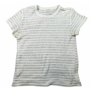 The Lady & The Sailor sz S Open Knit White Shadow Stripe Short Sleeve Top
